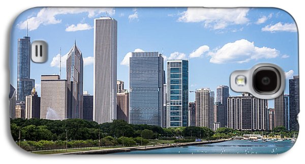 Stone Buildings Galaxy S4 Cases - Hi-Res Picture of Chicago Skyline and Lake Michigan Galaxy S4 Case by Paul Velgos