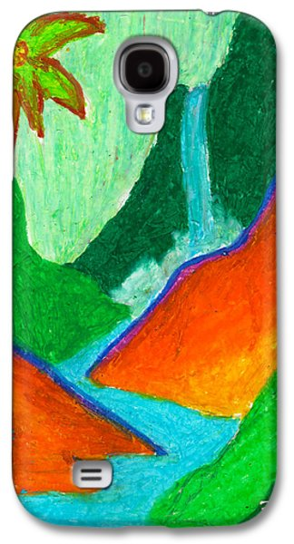 Original Art Pastels Galaxy S4 Cases - Hidden Waterfall in the Tropics Galaxy S4 Case by William Depaula