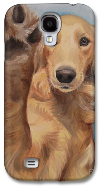 Puppies Galaxy S4 Cases - High Five Galaxy S4 Case by Jindra Noewi