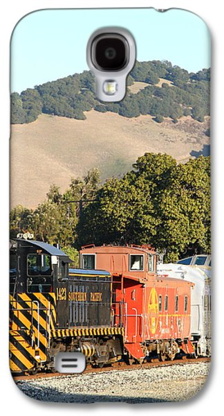 Old Caboose Galaxy S4 Cases - Historic Niles Trains in California . Old Southern Pacific Locomotive and Sante Fe Caboose . 7D10819 Galaxy S4 Case by Wingsdomain Art and Photography