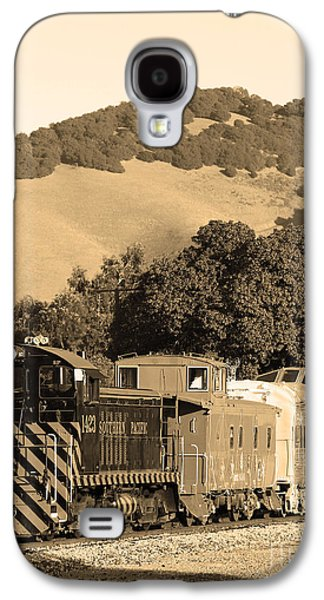 Old Caboose Galaxy S4 Cases - Historic Niles Trains in California.Southern Pacific Locomotive and Sante Fe Caboose.7D10819.sepia Galaxy S4 Case by Wingsdomain Art and Photography