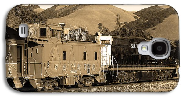 Old Caboose Galaxy S4 Cases - Historic Niles Trains in California.Southern Pacific Locomotive and Sante Fe Caboose.7D10843.sepia Galaxy S4 Case by Wingsdomain Art and Photography
