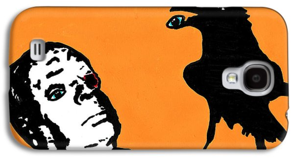 Blood Drawings Galaxy S4 Cases - Hitchcock and Raven on Orange Galaxy S4 Case by Jera Sky