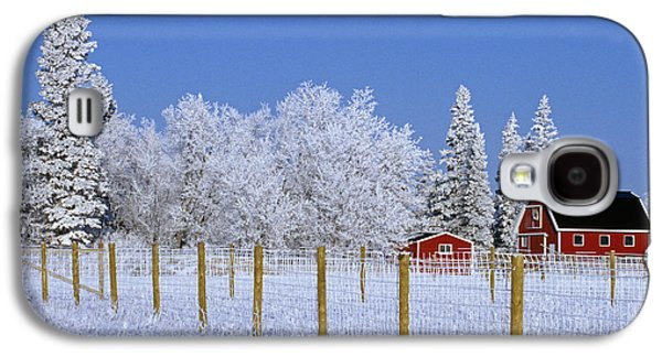 Red Barn In Winter Photographs Galaxy S4 Cases - Hoarfrost On Trees Around Red Barns Galaxy S4 Case by Mike Grandmailson