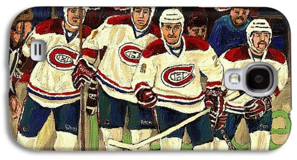 Canadiens Paintings Galaxy S4 Cases - Hockey Art The Habs Fab Four Galaxy S4 Case by Carole Spandau