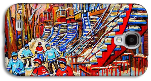 Montreal Street Life Paintings Galaxy S4 Cases - Hockey Game Near The Red Staircase Galaxy S4 Case by Carole Spandau