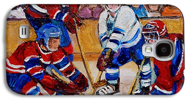 Stanley Cup Paintings Galaxy S4 Cases - Hockey Game Scoring The Goal Galaxy S4 Case by Carole Spandau