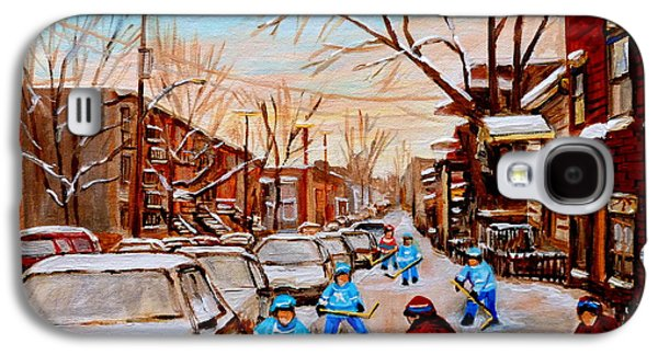Montreal Street Life Paintings Galaxy S4 Cases - Hockey Gameon Jeanne Mance Street Montreal Galaxy S4 Case by Carole Spandau