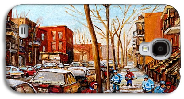 Montreal Street Life Paintings Galaxy S4 Cases - Hockey On St Urbain Street Galaxy S4 Case by Carole Spandau