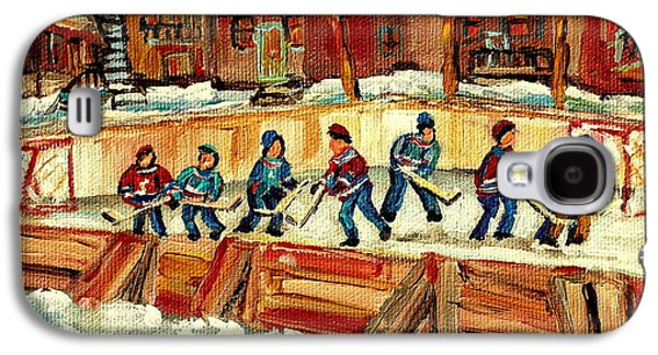 Montreal Street Life Paintings Galaxy S4 Cases - Hockey Rinks In Montreal Galaxy S4 Case by Carole Spandau