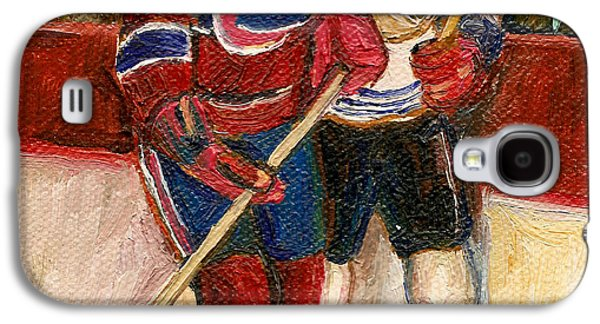 Streethockey Paintings Galaxy S4 Cases - Hockey Stars At The Forum Galaxy S4 Case by Carole Spandau
