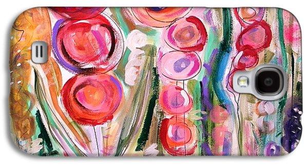 Joyful Drawings Galaxy S4 Cases - Hollyhocks of the Garden Galaxy S4 Case by Mary Carol Williams