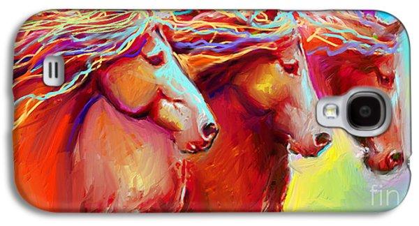 Svetlana Novikova Digital Art Galaxy S4 Cases - Horse Stampede painting Galaxy S4 Case by Svetlana Novikova