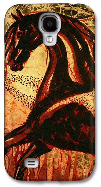 Mystical Tapestries - Textiles Galaxy S4 Cases - Horse Through Web of Fire Galaxy S4 Case by Carol Law Conklin