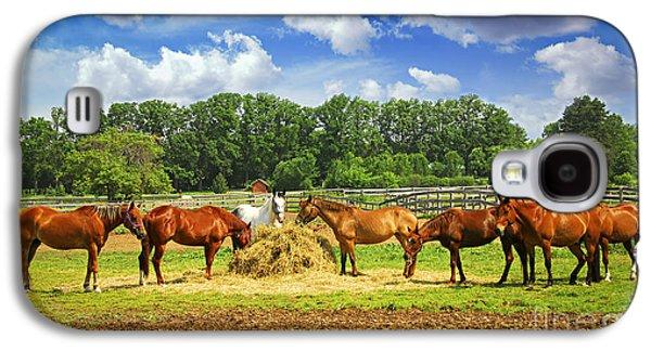 Feeding Galaxy S4 Cases - Horses at the ranch Galaxy S4 Case by Elena Elisseeva