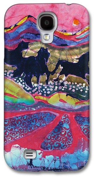 Mystical Tapestries - Textiles Galaxy S4 Cases - Horses Running Thru a Stream Galaxy S4 Case by Carol  Law Conklin