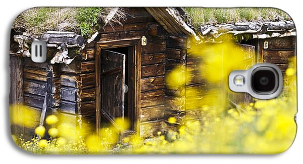 Frame House Galaxy S4 Cases - House behind Yellow Flowers Galaxy S4 Case by Heiko Koehrer-Wagner