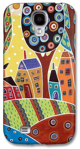 Garden Scene Galaxy S4 Cases - Houses Barn Landscape Galaxy S4 Case by Karla Gerard