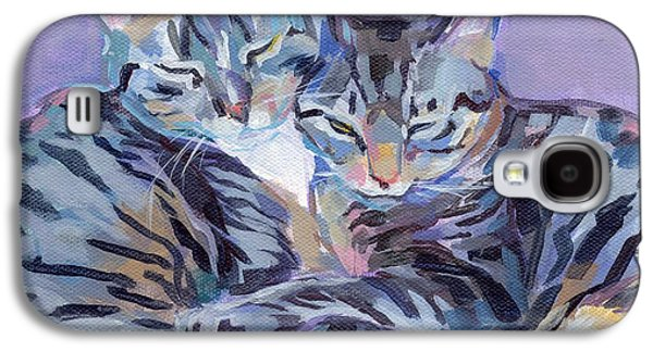 Gray Tabby Galaxy S4 Cases - Hugs Purrs and Stripes Galaxy S4 Case by Kimberly Santini