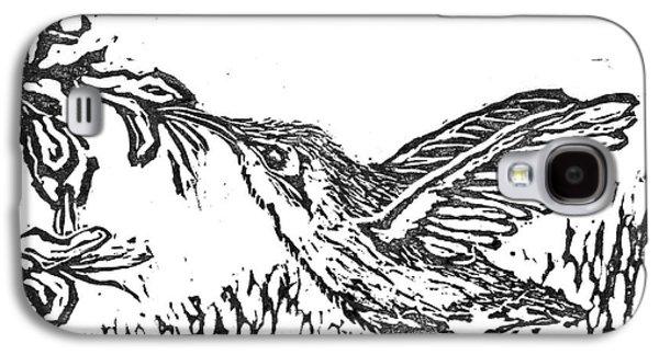 Lino Mixed Media Galaxy S4 Cases - Hummingbird  block print Galaxy S4 Case by Ellen Miffitt