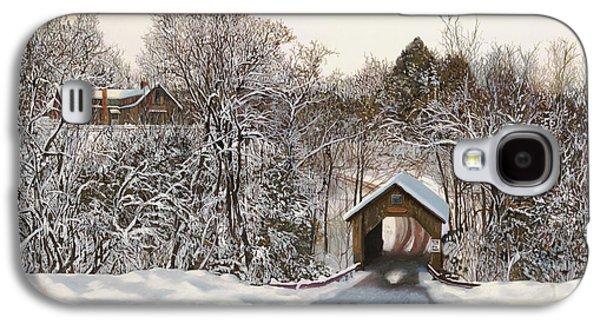 Snow Paintings Galaxy S4 Cases - Il Ponte Coperto Di Legno Galaxy S4 Case by Guido Borelli