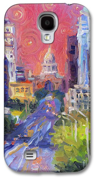 Street Drawings Galaxy S4 Cases - Impressionistic Downtown Austin city painting Galaxy S4 Case by Svetlana Novikova
