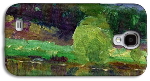 Waterscape Galaxy S4 Cases - Impressionistic Oil landscape lake painting Galaxy S4 Case by Svetlana Novikova