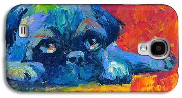 Green Drawings Galaxy S4 Cases - impressionistic Pug painting Galaxy S4 Case by Svetlana Novikova