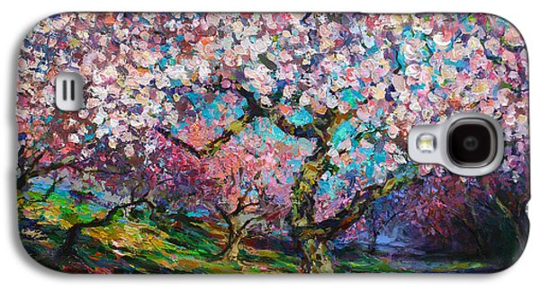 Original Drawings Galaxy S4 Cases - Impressionistic Spring Blossoms Trees Landscape painting Svetlana Novikova Galaxy S4 Case by Svetlana Novikova