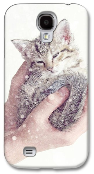 Gray Tabby Galaxy S4 Cases - In Safe Hands  Galaxy S4 Case by Amy Tyler