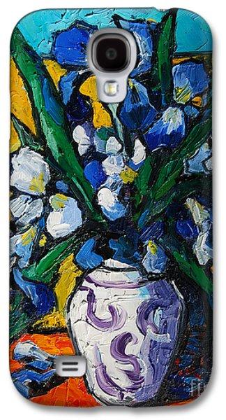 Interior Still Life Paintings Galaxy S4 Cases - Irises Galaxy S4 Case by Mona Edulesco