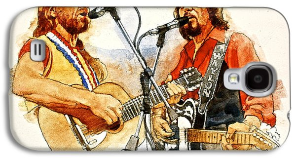 Celebrities Mixed Media Galaxy S4 Cases - Its Country - 7  Waylon Jennings Willie Nelson Galaxy S4 Case by Cliff Spohn