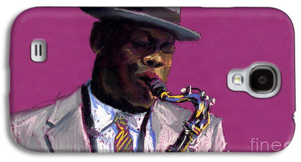 Celebrities Pastels Galaxy S4 Cases - Jazz Saxophonist Galaxy S4 Case by Yuriy  Shevchuk
