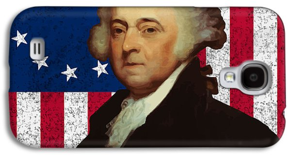 4th July Galaxy S4 Cases - John Adams and The American Flag Galaxy S4 Case by War Is Hell Store