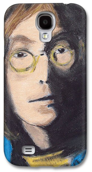 Photo Manipulation Drawings Galaxy S4 Cases - John Lennon Pastel Galaxy S4 Case by Jimi Bush