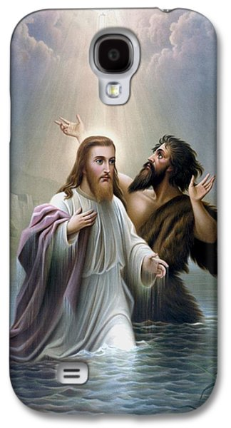 River Jordan Paintings Galaxy S4 Cases - John the Baptist baptizes Jesus Christ Galaxy S4 Case by War Is Hell Store