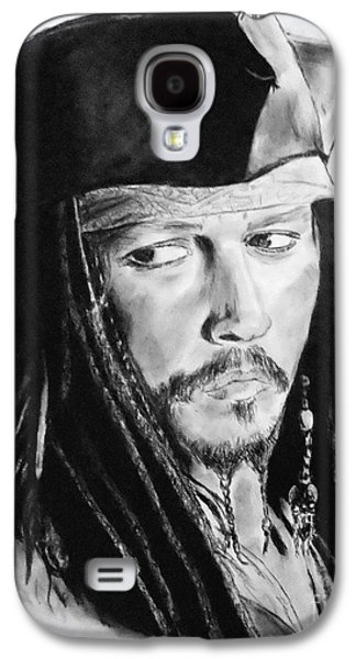 Johnny Depp As Captain Jack Sparrow In Pirates Of The Caribbean II Galaxy S4 Case by Jim Fitzpatrick