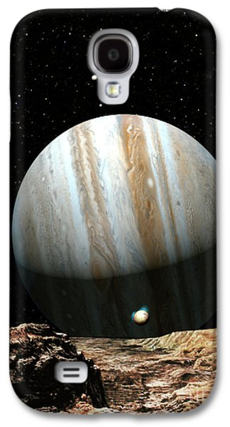 Astronomy Paintings Galaxy S4 Cases - Jupiter Seen From Europa Galaxy S4 Case by Don Dixon