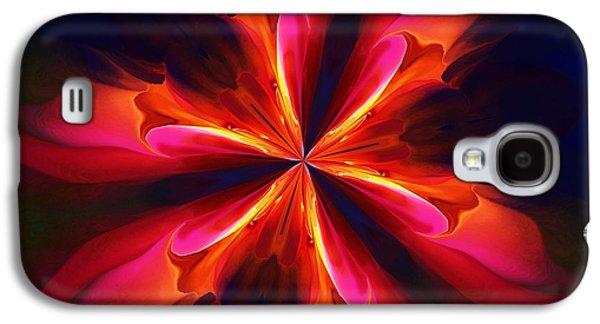 Geometric Digital Art Galaxy S4 Cases - Kaliedoscope Flower 121011 Galaxy S4 Case by David Lane