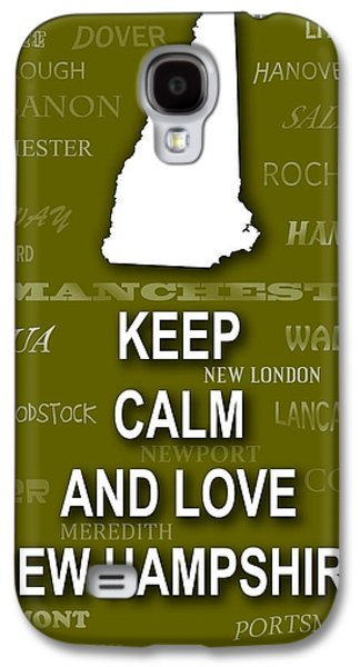Concord Galaxy S4 Cases - Keep Calm and Love New Hampshire State Map City Typography Galaxy S4 Case by Keith Webber Jr