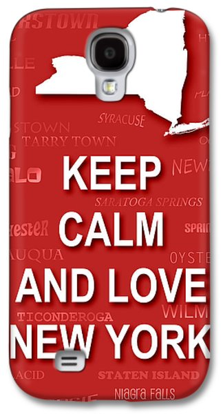 Buffalo Art Digital Art Galaxy S4 Cases - Keep Calm and Love New York State Map City Typography Galaxy S4 Case by Keith Webber Jr
