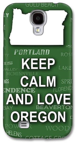 Burnt Digital Art Galaxy S4 Cases - Keep Calm and Love Oregon State Map City Typography Galaxy S4 Case by Keith Webber Jr