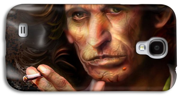Keith Richards Paintings Galaxy S4 Cases - Keith Richards1-Burning lights 4 Galaxy S4 Case by Reggie Duffie