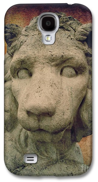 Statue Portrait Mixed Media Galaxy S4 Cases - King Lion Galaxy S4 Case by Angela Doelling AD DESIGN Photo and PhotoArt