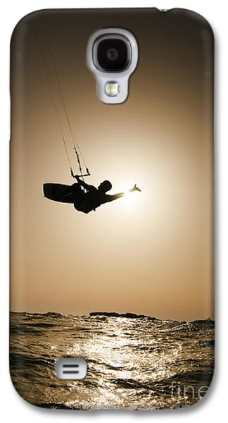 Sports Photographs Galaxy S4 Cases - Kitesurfing at sunset Galaxy S4 Case by Hagai Nativ