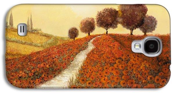 Landscapes Paintings Galaxy S4 Cases - La Collina Dei Papaveri Galaxy S4 Case by Guido Borelli