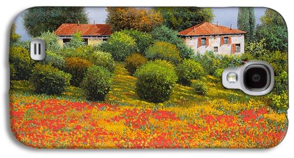Farm Fields Paintings Galaxy S4 Cases - La Nuova Estate Galaxy S4 Case by Guido Borelli
