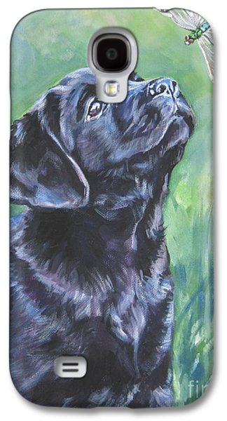 Dogs Paintings Galaxy S4 Cases - Labrador Retriever pup and dragonfly Galaxy S4 Case by L A Shepard