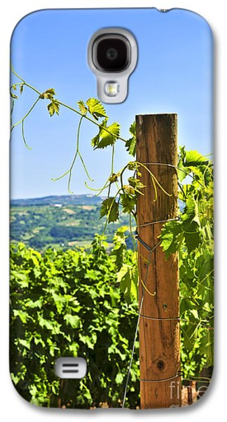 Grapevines Photographs Galaxy S4 Cases - Landscape with vineyard Galaxy S4 Case by Elena Elisseeva
