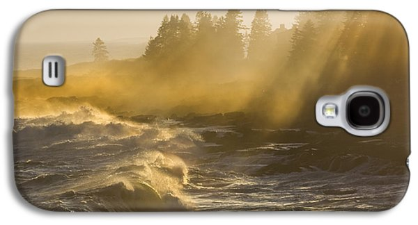 Maine Shore Galaxy S4 Cases - Large Waves Lightbeams Pemaquid Point Maine Galaxy S4 Case by Keith Webber Jr